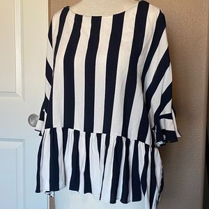 NEW ZARA trf loose fitting blouse NAVY White Large